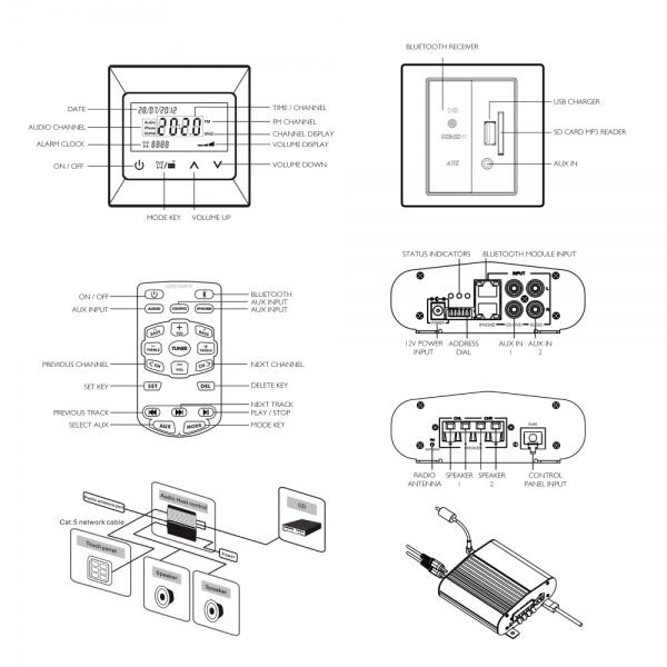 boutique t2000 metal audio system bundled kit satin